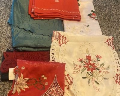 Lot of Christmas table clothes and runners
