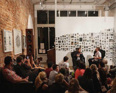 Uptown Art Gallery with open floor plan, hardwood floors, brick walls, and ample lighting, Denver, CO