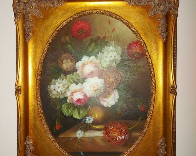 """Gorgeous vintage 12"""" by 16"""" Canvas print Flowers in vase by Pati, in a spectacular ornate frame with oval opening"""