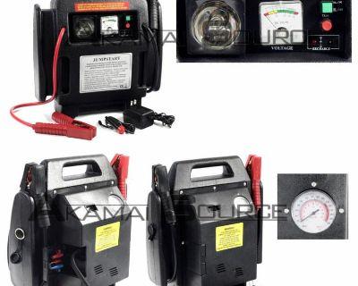 2-in-1 12v Battery Jump Starter W/ Air Compressor Emergency Jump Start Auto Tool