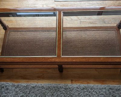Vintage coffee table w rattan & gold accent