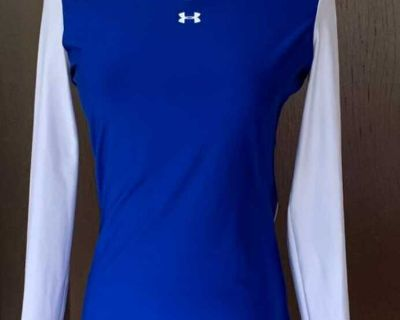 NWT Under Armour HeatGear Women's Blue and White Long Sleeve Shirt Size M