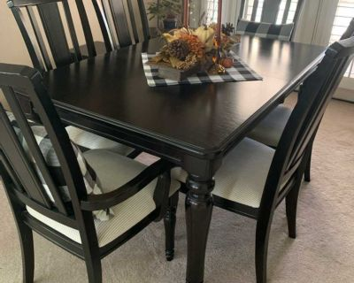 Table, chairs, leaf & Hutch