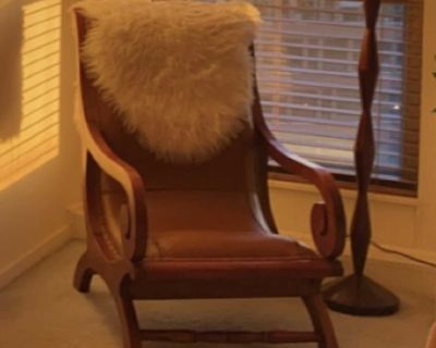 Antique Wood & Leather Reading Chair (comes with matching foot stool)