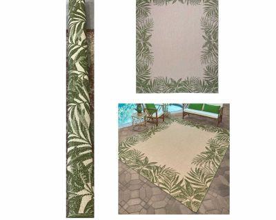 Naples Indoor/Outdoor Area Rug, Palm Border 7 ft. 10 in. x 10 ft.