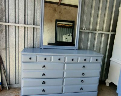Dresser Tv Media Entryway Table With Mirror Refinished Gray And Black Pulls All Wood 220.00