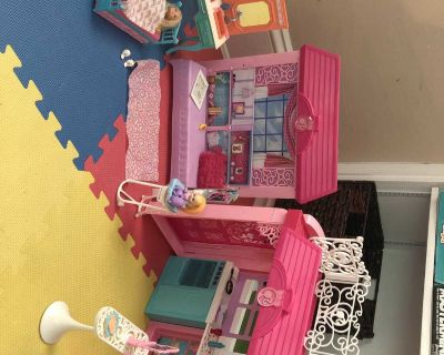 Barbie apartment with 2 dolls