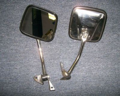 Stainless Steel Side Mirror Pair For 55-86 Jeep Cj- Kentrol
