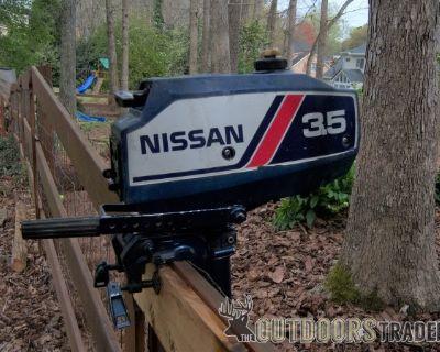 FS Nissan 3.5 HP, 2-Stroke Outboard Motor, Long Shaft, Runs Good