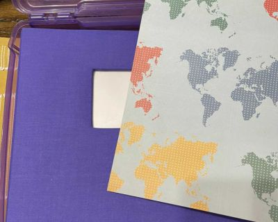 Scrapbook, pages, and storage container
