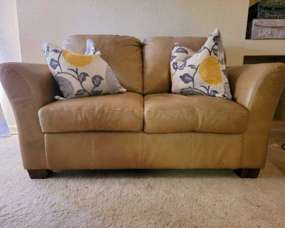 Tan leather Sofa and Loveseat