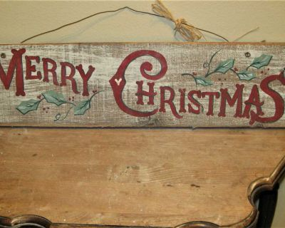 """Primitive Wooden Merry Christmas Hanging Sign ~ 25 1/4"""" X 5 1/2"""""""