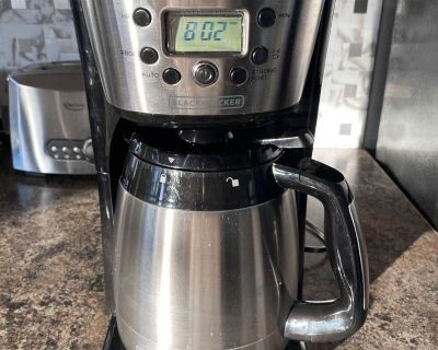 Black+Decker Thermal Coffee Maker, 12 Cup, Programmable, Digital Controls, Black And Silver