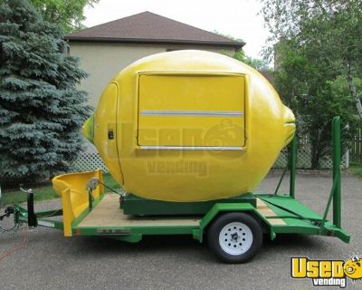 Brand New 2021 - 7' x 11' Lemon-Shaped Roll-Off Concession Stand with Trailer