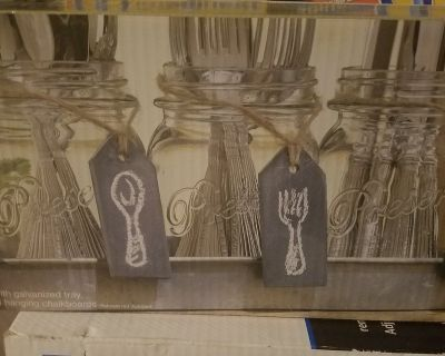 Home essentials flatware caddy with galvanized tray
