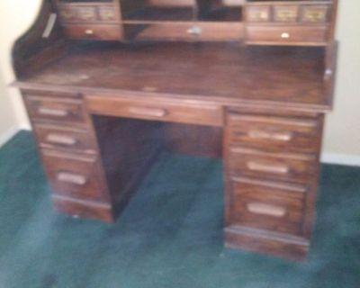 Solid Wood Roll Back Desk