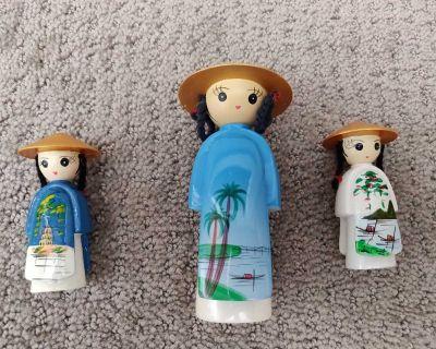 Vintage set of 3 Vietnam Doll Figurine - Ethnic Vietnamese
