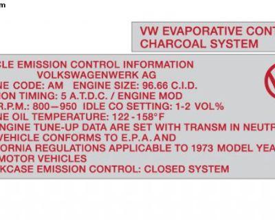 1973 Volkswagen Thing emissions sticker/decal