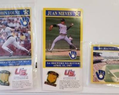 Complete PIN Set of 4 U.S. Oil Co. Promo Milwaukee Brewers L@@K! NEW!