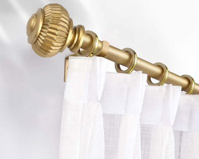"""Knobwell 48""""-86"""" Curtain Rods - Two Pack - Brass - Gold - New!"""