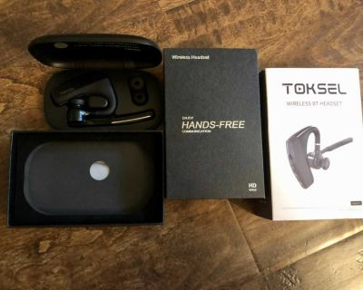NEW Toksel Bluetooth Headset Earpiece V5.0 with Dual Mic. Compatible iPhone Android Cell Phones. SFPF home Retails $49.99