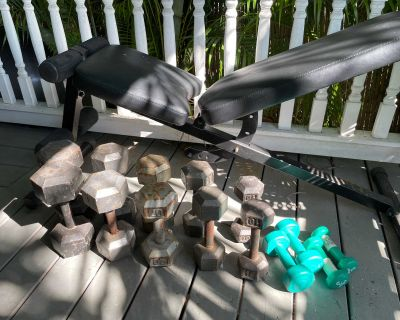 Exercise Bench and Full Set of Dumbbells