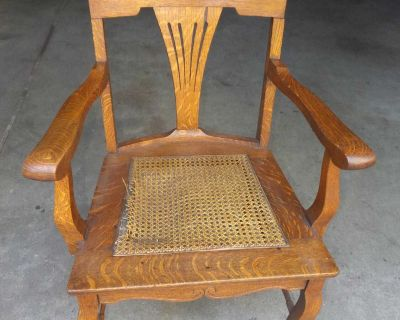 Antique Oak Chair with Cane Seat