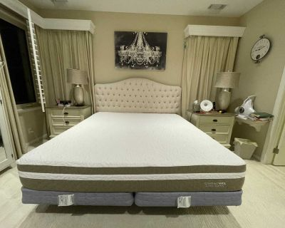 Tufted King Size Bed Headboard+ Metal Frame+ CoolTouch Gel Supreme Mattress (2 Box Springs For Free) = One Complete Set Of King Size Bed