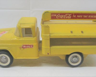 VINTAGE BUDDY L - Pressed Steel - COCA-COLA Delivery Truck Yellow - COKE Toy - 15