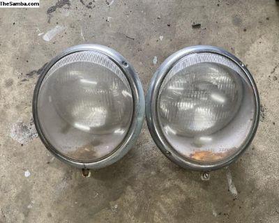1960s Hella German Headlights Set SB19 SB20 SB21