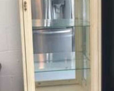 Lighted Display Cabinet with Glass / Wood Door and Hidden Storage