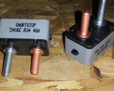 40 Amp 24vdc R34 Shortstop Manual Reset Button Circuit Breaker 5 Pc Lot New