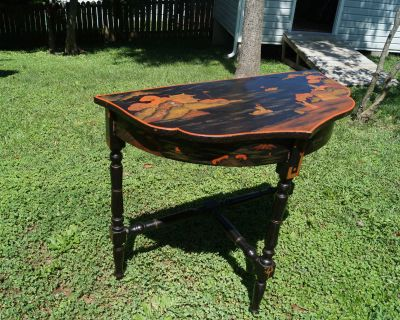 Oriental Style Painted Wood Demilune Table