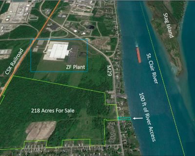 218.76 acres +/- with 100 ft. on St Clair River
