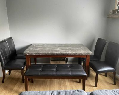 Marble table 4 chairs and 1 bench seat