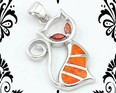 New - Cat Orange Fire Opal with Garnet Eyes Pendant with Chain