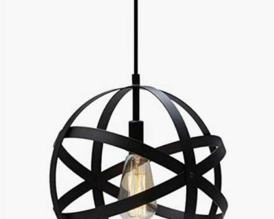 New in box Rustic Chandelier Vintage Hanging Cage Globe Ceiling Light Fixture