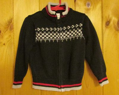 Old Navy 2T black w/gray and red; cotton; full-zip; cotton sweater