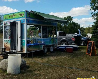 8' x 12' Festival Food Carnival-Style Concession Trailer w/ Awning