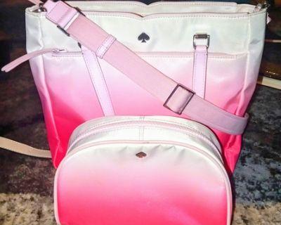 Kate Spade Jae Degrade Pink Nylon Satchel and Cosmetic Bag