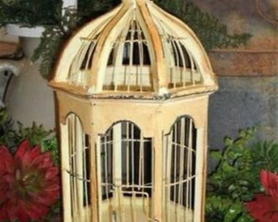 """Chippy Domed 15"""" French Country Farmhouse Birdcage"""