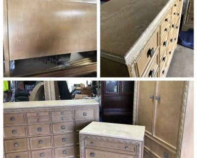 Massive Wood and Marble King Bedroom Suite - 4 items