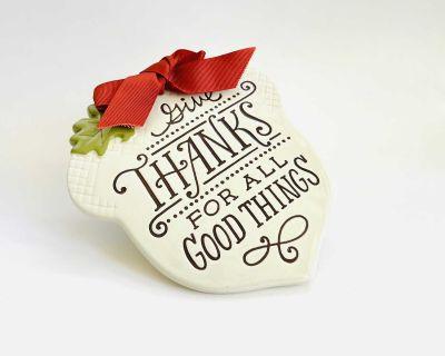 New Hallmark Give Thanks Acorn Decorative Fall Ceramic Piece or Hot Plate Holder