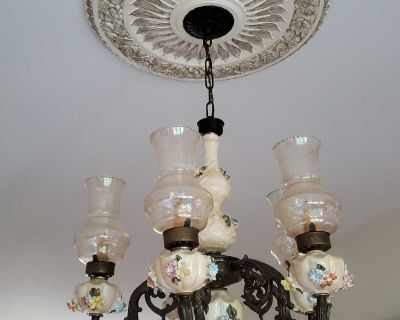 Antique Chandelier with 5 Hurricane Lamp Shades - Hand Painted Flower Theme