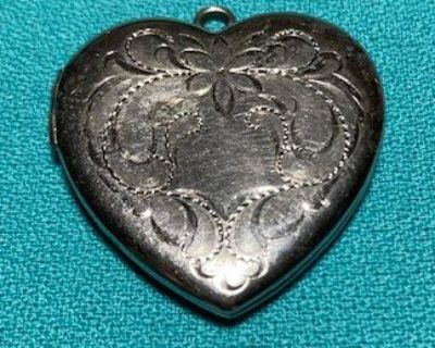 Baromod Brand Sterling Silver Heart Locket Flower and Scroll Design on Front Opens and Locks Clo...