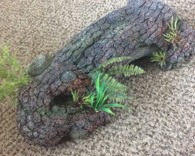 17-inches Long Fish or Reptile Tank Root with greens decor