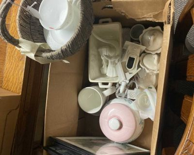 Lot of miscellaneous items, pictures, cup & saucer, serving dish with ladle, cookie jar, basket and other items