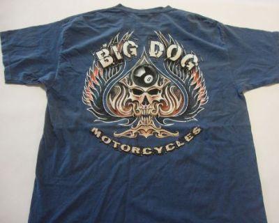 Big Dog Motorcycles Spade Skull Medium Shirt Dyed Short Sleeve Bdm Chopper K-9