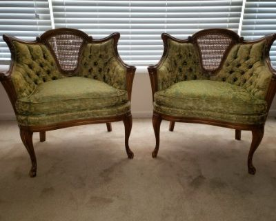 Pair MCM Vintage French Provincial Louis XVI Tufted Accent Chairs