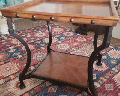 """Solid wood and iron side table EUC 24""""x 26"""" height 26"""""""